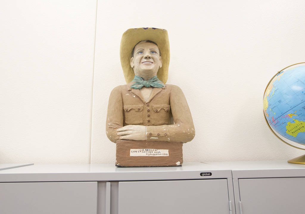 A sculpture of Rex Bell on display in the main office at Rex Bell Elementary School in Las Vegas on Wednesday, Aug. 8, 2018. Richard Brian Las Vegas Review-Journal @vegasphotograph