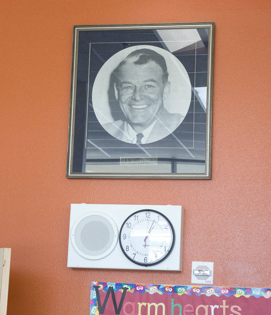 A large portrait of Rex Bell on display in the main office at Rex Bell Elementary School in Las Vegas on Wednesday, Aug. 8, 2018. Richard Brian Las Vegas Review-Journal @vegasphotograph
