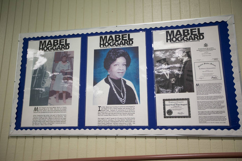 A tribute to Mabel Hoggard on display in the cafeteria at Mabel Hoggard Elementary School in Las Vegas on Wednesday, Aug. 8, 2018. Richard Brian Las Vegas Review-Journal @vegasphotograph