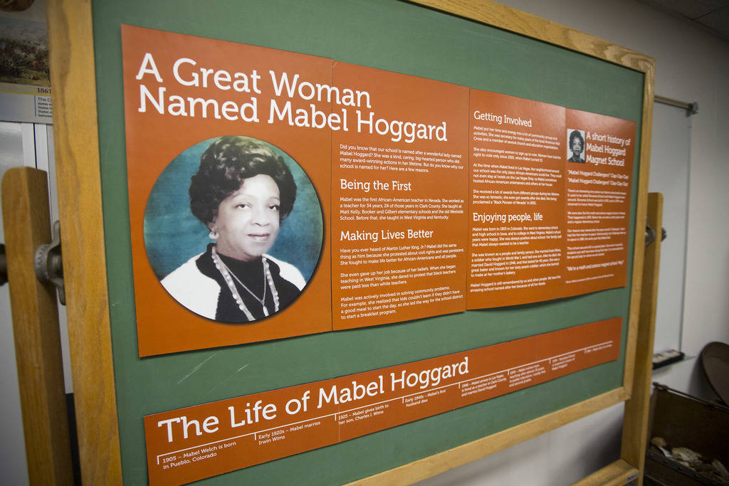 A tribute exhibit to Mabel Hoggard on display at Mabel Hoggard Elementary School in Las Vegas on Wednesday, Aug. 8, 2018. Richard Brian Las Vegas Review-Journal @vegasphotograph