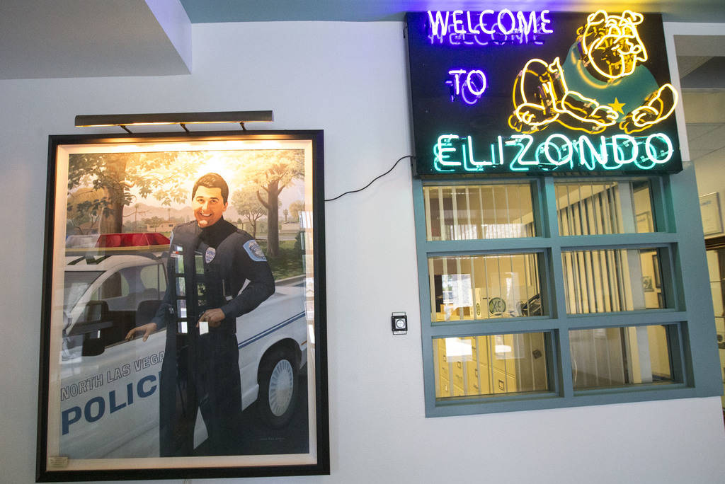 A tribute to Raul P. Elizondo near the main entrance at Raul P. Elizondo Elementary School in North Las Vegas on Wednesday, Aug. 8, 2018. Richard Brian Las Vegas Review-Journal @vegasphotograph