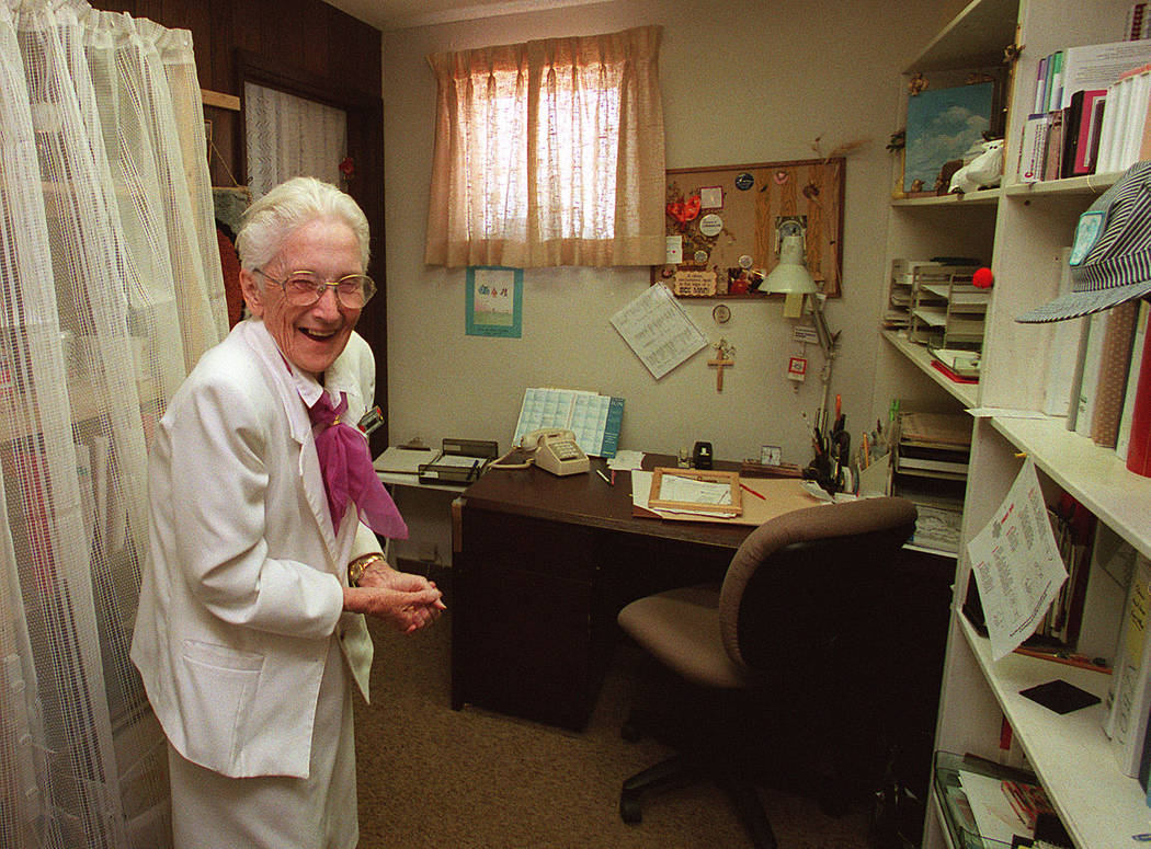 Sister Robert Joseph Bailey stands in her former dorm room. (Las Vegas Review-Journal File Photo)