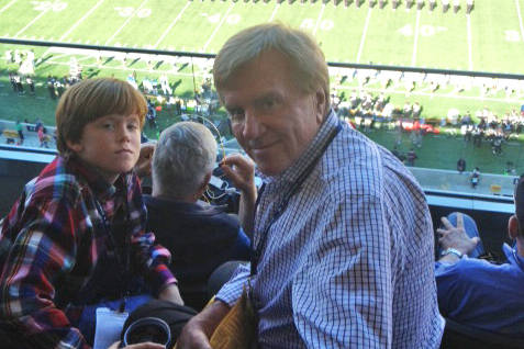 Sig Rogich, right, with his son Sig Jr. at a University of California football game in 2013, will be inducted into the Southern Nevada Sports Hall of Fame Friday. (Photo courtesy of Rogich Family)