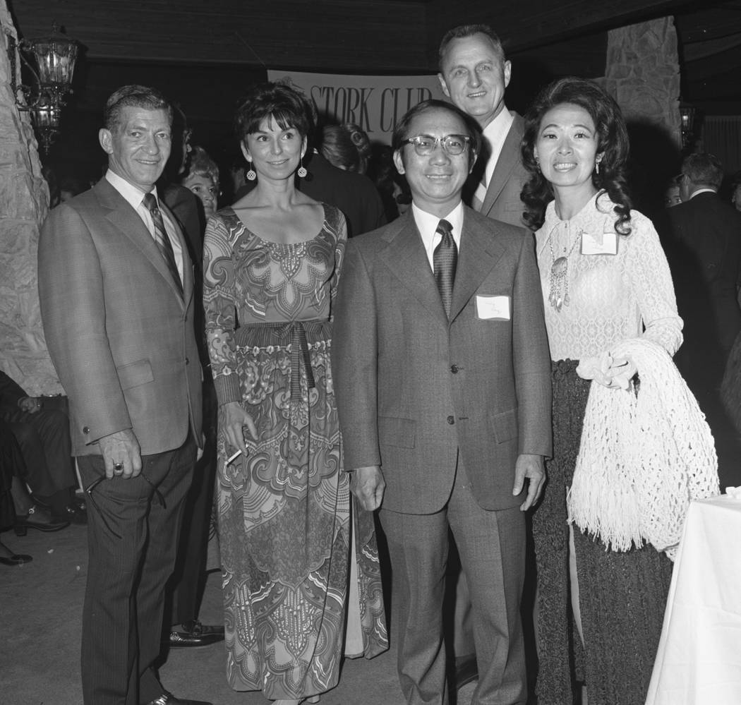 Left to right, Dr. and Mrs. Robert Balin, Mr. and Mrs. Wing Fong and Dr. Harold Boyer, back, at a dinner dance to honor Dr. Sol T. DeLee at the Las Vegas Country Club.