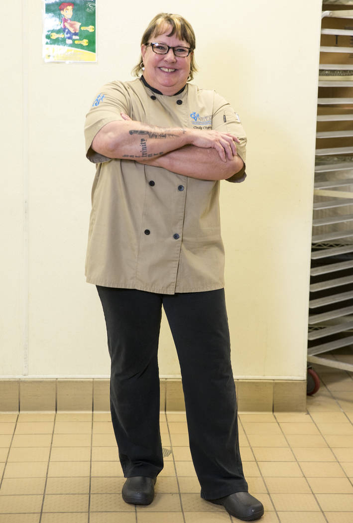 Cindy Chartrand, executive chef at Opportunity Village, in her kitchen at Opportunity Village's Engelstad Campus located at 6050 S. Buffalo Drive in Las Vegas on Friday, Aug. 3, 2018. Richard Bria ...