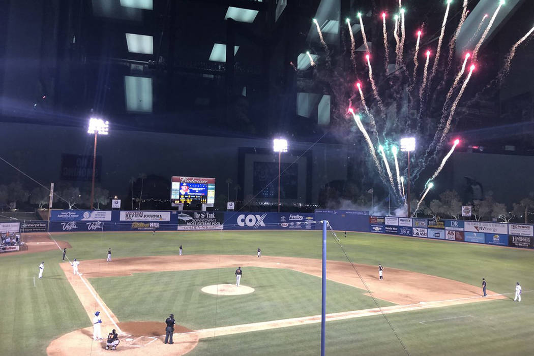 Fireworks accidentally went off at Cashman Field during a game between the 51s and the Fresno Grizzlies on May 11, 2018. (Betsy Helfand/Las Vegas Review-Journal)