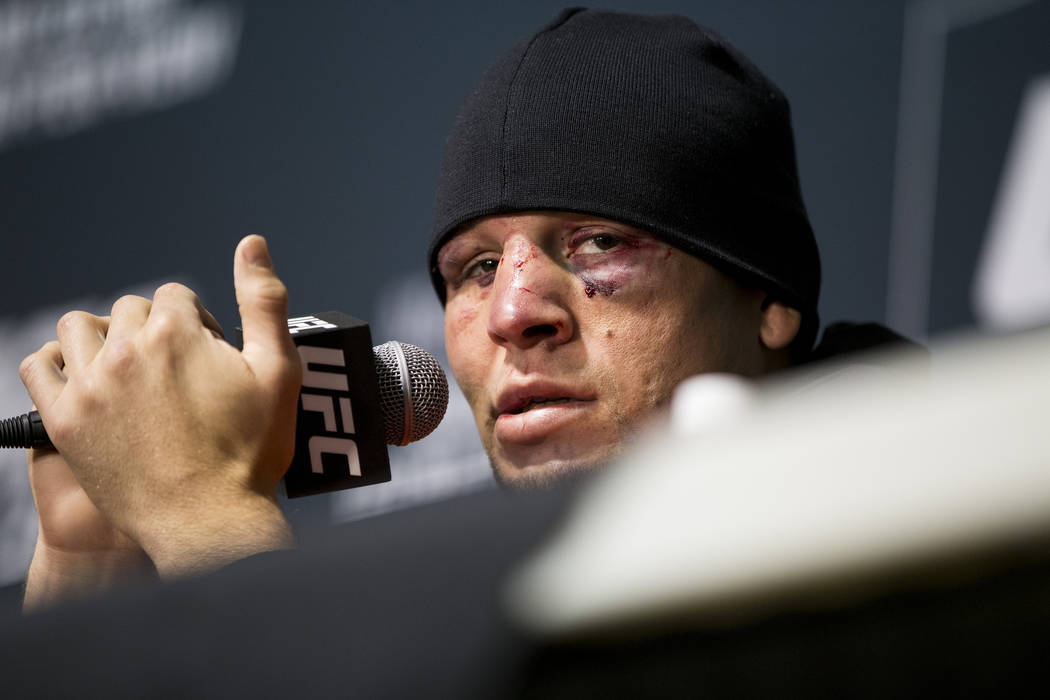 Nate Diaz speaks during the UFC 202 post-fight press conference at T-Mobile Arena on Saturday, Aug. 20, 2016, in Las Vegas. Erik Verduzco/Las Vegas Review-Journal Follow @Erik_Verduzco