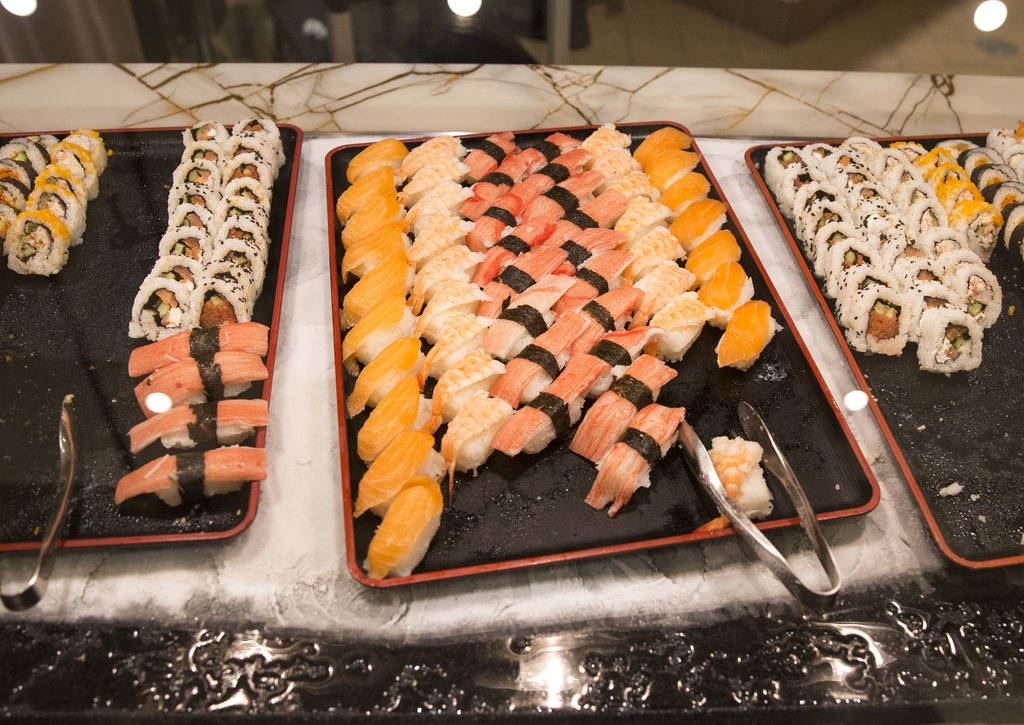The sushi station at the new Feast Buffett at the newly renovated Palace Station hotel-casino in Las Vegas on Friday, Aug. 3, 2018. Richard Brian Las Vegas Review-Journal @vegasphotograph