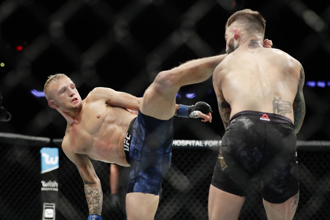 T.J. Dillashaw, left, kicks Cody Garbrandt during a bantamweight title mixed martial arts bout at UFC 217 on Saturday, Nov. 4, 2017, in New York. Dillashaw won the fight. (AP Photo/Frank Franklin II)