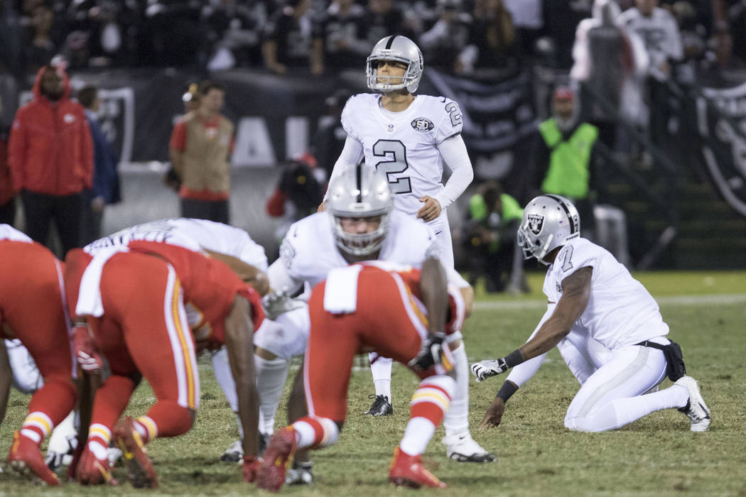 Oakland Raiders kicker Giorgio Tavecchio (2) attempts to score a field goal before the end of first half of their game against the Kansas City Chiefs in Oakland, Calif., Thursday, Oct. 19, 2017. H ...