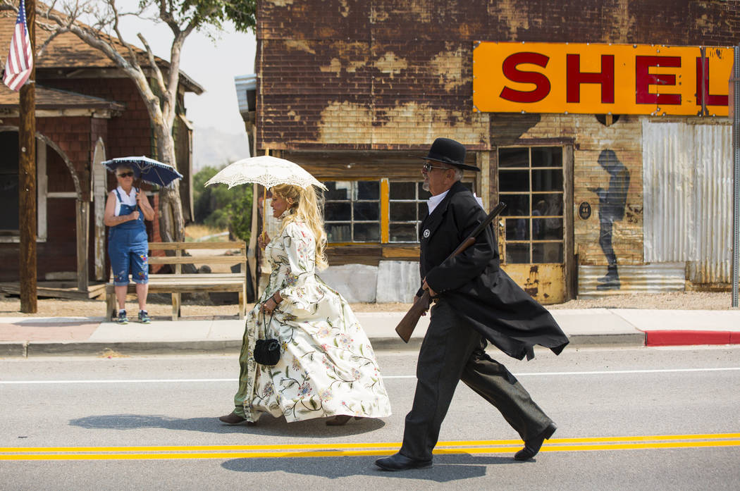 Costumed parade participants during the Goldfield Days celebration in Goldfield on Saturday, Aug. 4, 2018. Chase Stevens Las Vegas Review-Journal @csstevensphoto