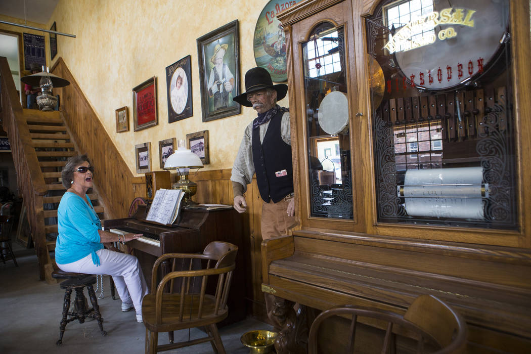 Vivian Jeffries of Pahrump plays the piano at The Palace during the Goldfield Days celebration in Goldfield on Saturday, Aug. 4, 2018. Chase Stevens Las Vegas Review-Journal @csstevensphoto