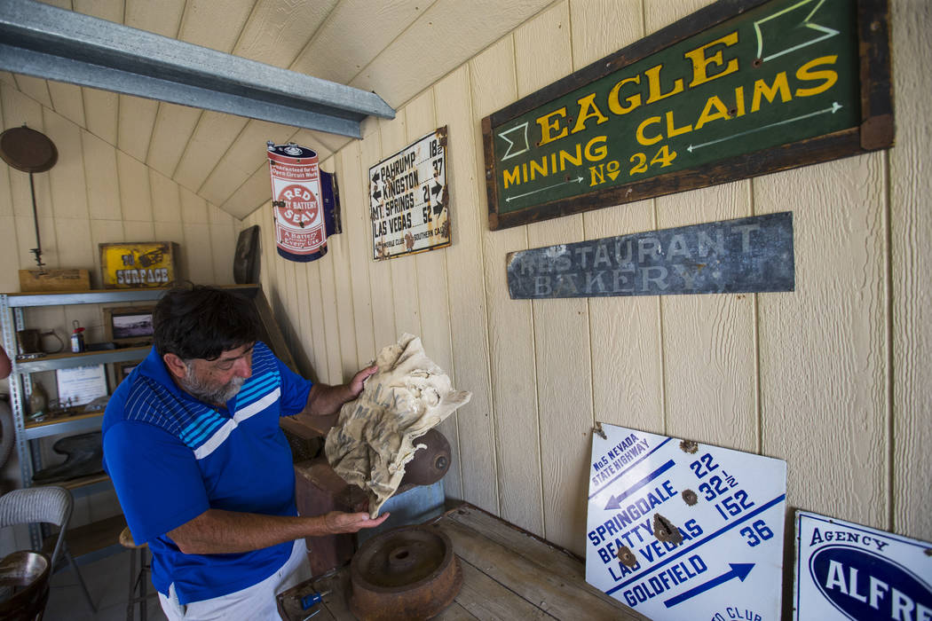 Randy Main, owner of The Palace, shows off an old mining sack during the Goldfield Days celebration in Goldfield on Saturday, Aug. 4, 2018. Chase Stevens Las Vegas Review-Journal @csstevensphoto