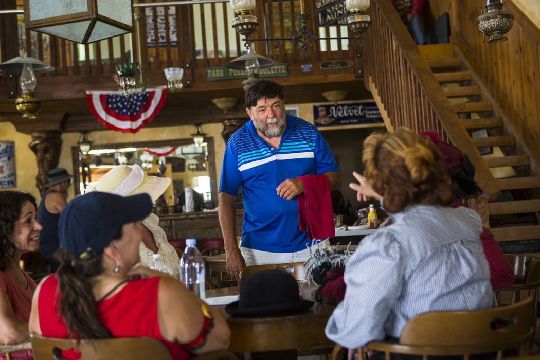 Randy Main, owner of The Palace, talks with people during the Goldfield Days celebration in Goldfield on Saturday, Aug. 4, 2018. Chase Stevens Las Vegas Review-Journal @csstevensphoto