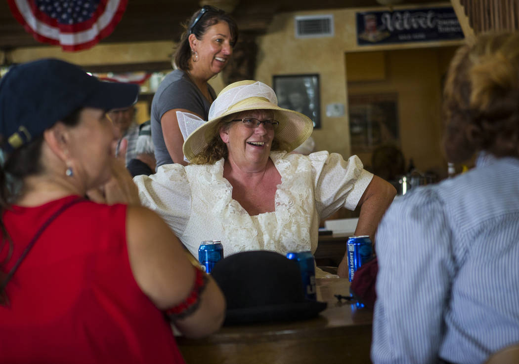 Cheri Bickham of Diamondfield talks with friends at The Palace during the Goldfield Days celebration in Goldfield on Saturday, Aug. 4, 2018. Chase Stevens Las Vegas Review-Journal @csstevensphoto