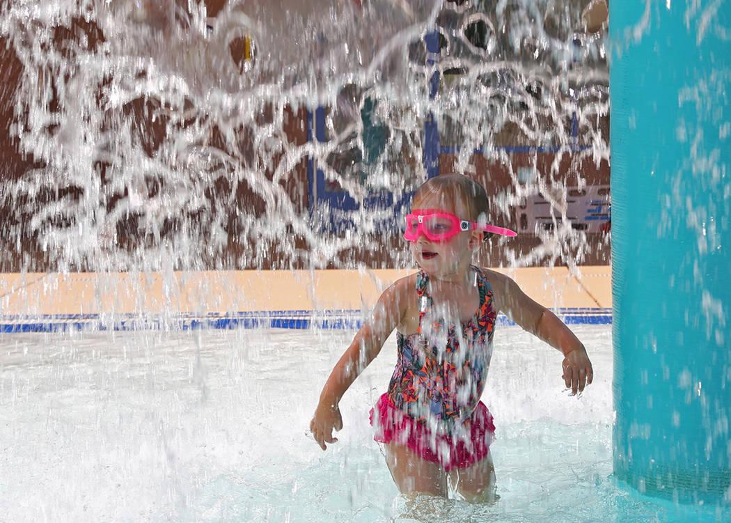 Dulcie Gunn, 4, plays in the water feature at Sunrise Park in Las Vegas. Rachel Aston Las Vegas Review-Journal @rookie__rae