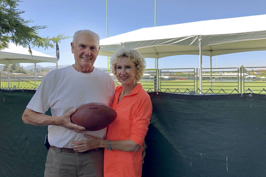 John King and his wife, Sandy, in the backyard of their home in Napa, Calif., which overlooks the Raiders' training camp facility. (Michael Gehlken/Las Vegas Review-Journal)