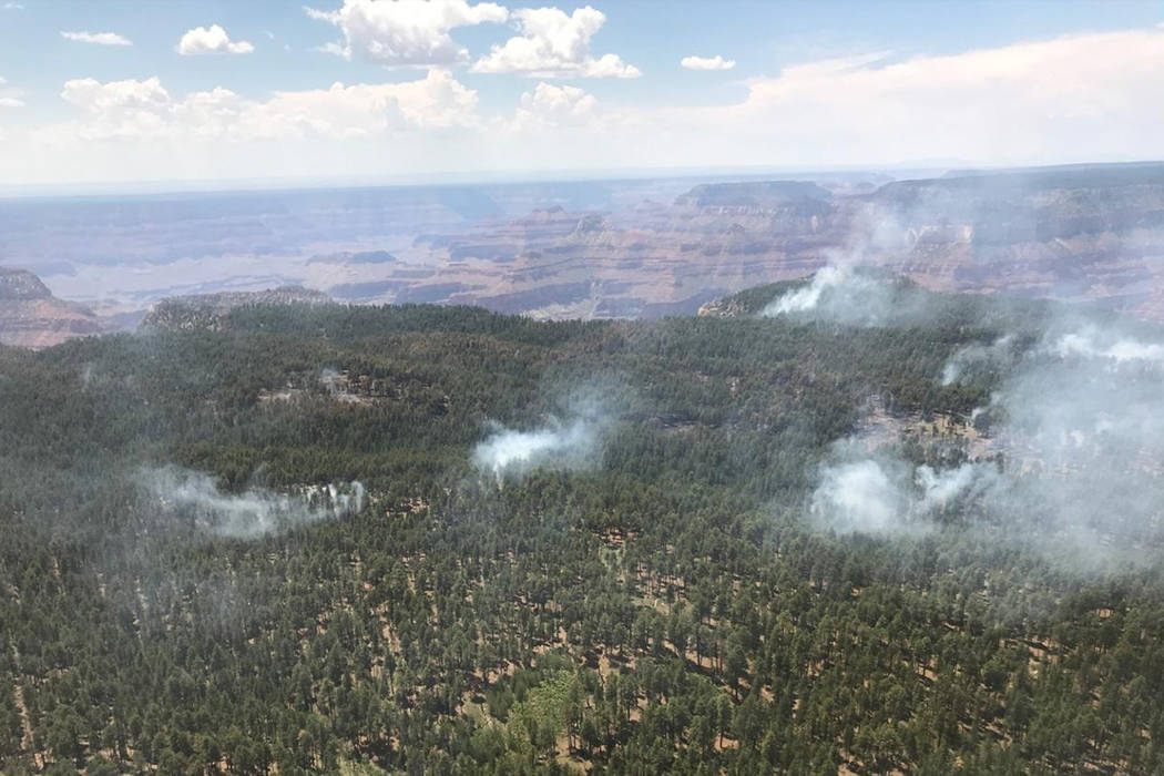 A fire on the North Rim of the Grand Canyon started July 21. National Park Service.