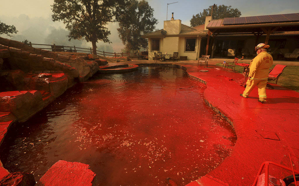 A firefighter walks around a swimming pool sprayed by phos-chek fire retardant after an air tanker made a pass while fighting a wildfire near Lakeport, Calif., Thursday, Aug. 2, 2018. (Kent Porter ...