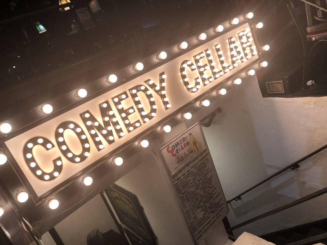 The entrance of Comedy Cellar in Greenwich Village in New York is shown on Friday, Aug. 3, 2018. (John Katsilometes/Las Vegas Review-Journal) @JohnnyKats