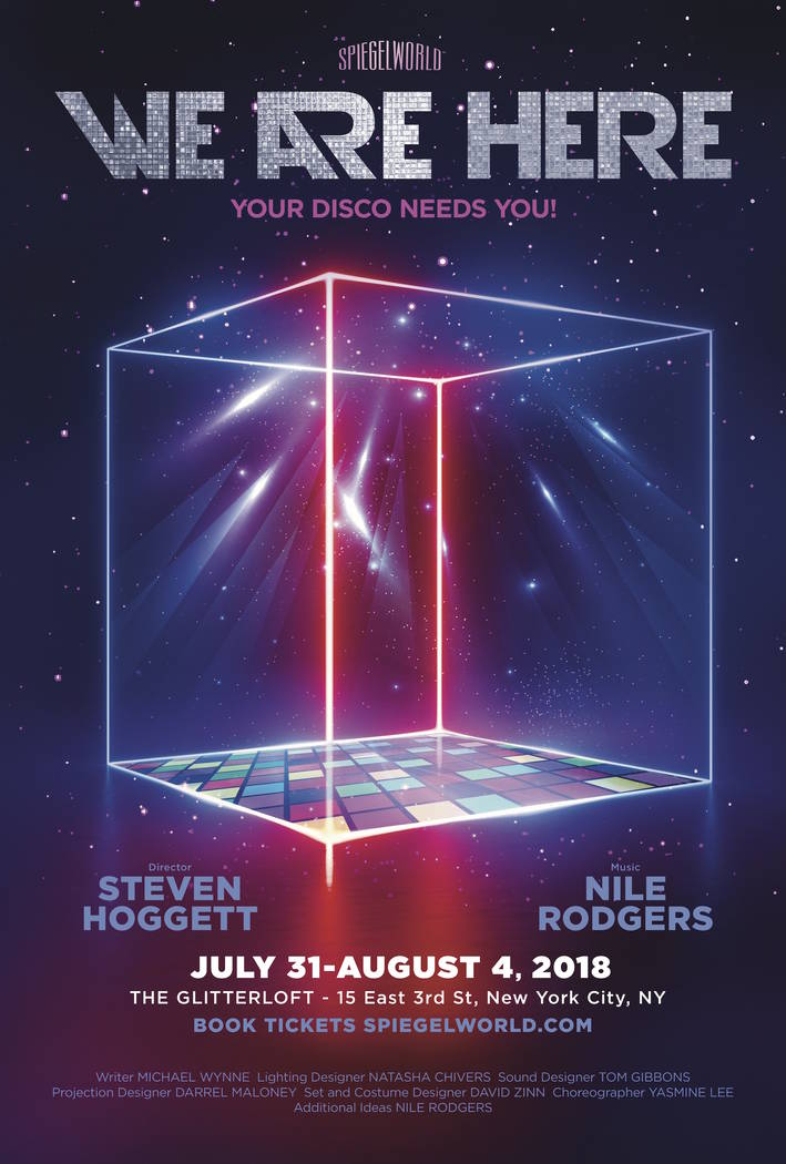 "A promotional poster for ""We Are Here,"" a disco production in development by Spiegelworld targeted for a 2019 opening on the Strip. (Spiegelworld)"