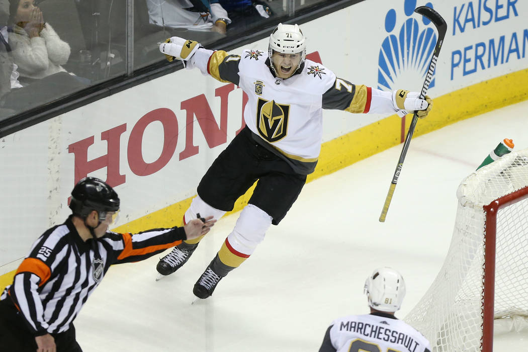 Vegas Golden Knights center William Karlsson (71) celebrates his score during overtime in Game 3 of an NHL hockey second-round playoff series at the SAP Center in San Jose, Calif, Monday, April 30 ...