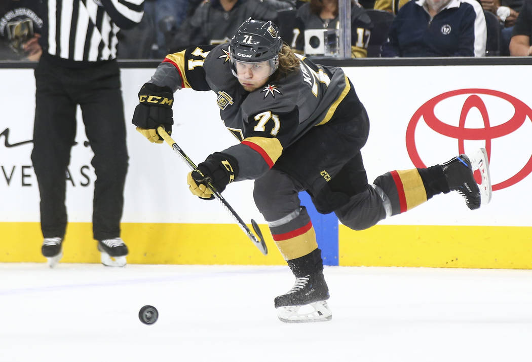 Golden Knights center William Karlsson (71) passes the puck to a teammate during the first period of Game 2 of an NHL hockey second-round playoff series against the San Jose Sharks at T-Mobile Are ...