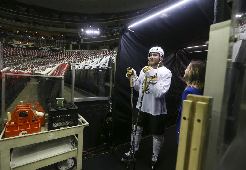 Golden Knights center William Karlsson (71) stands before the start of practice ahead of Game 3 of the Stanley Cup Final against the Washington Capitals at Capital One Arena in Washington on Satur ...