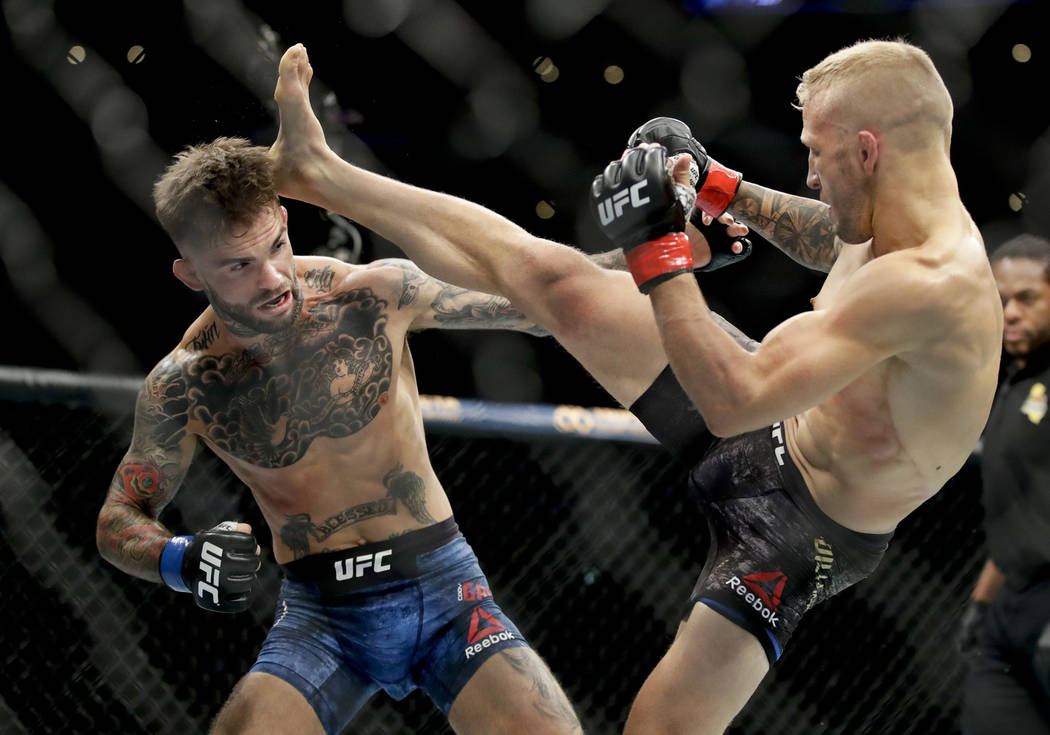 T.J. Dillashaw, right, kicks Cody Garbrandt during their UFC title bantamweight mixed martial arts bout at UFC 227 in Los Angeles, Saturday, Aug. 4, 2018. (AP Photo/Chris Carlson)