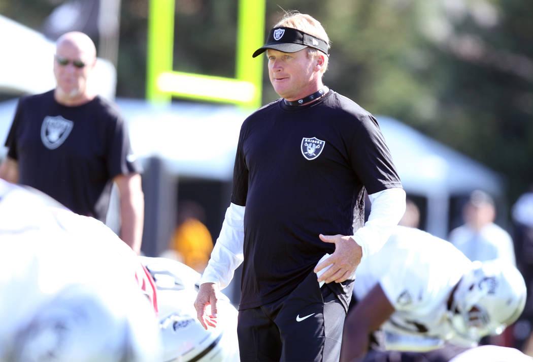 Oakland Raiders head coach Jon Gruden observes drills at the NFL football team's training camp in Napa, Calif., Friday, July 27, 2018. Heidi Fang Las Vegas Review-Journal @HeidiFang
