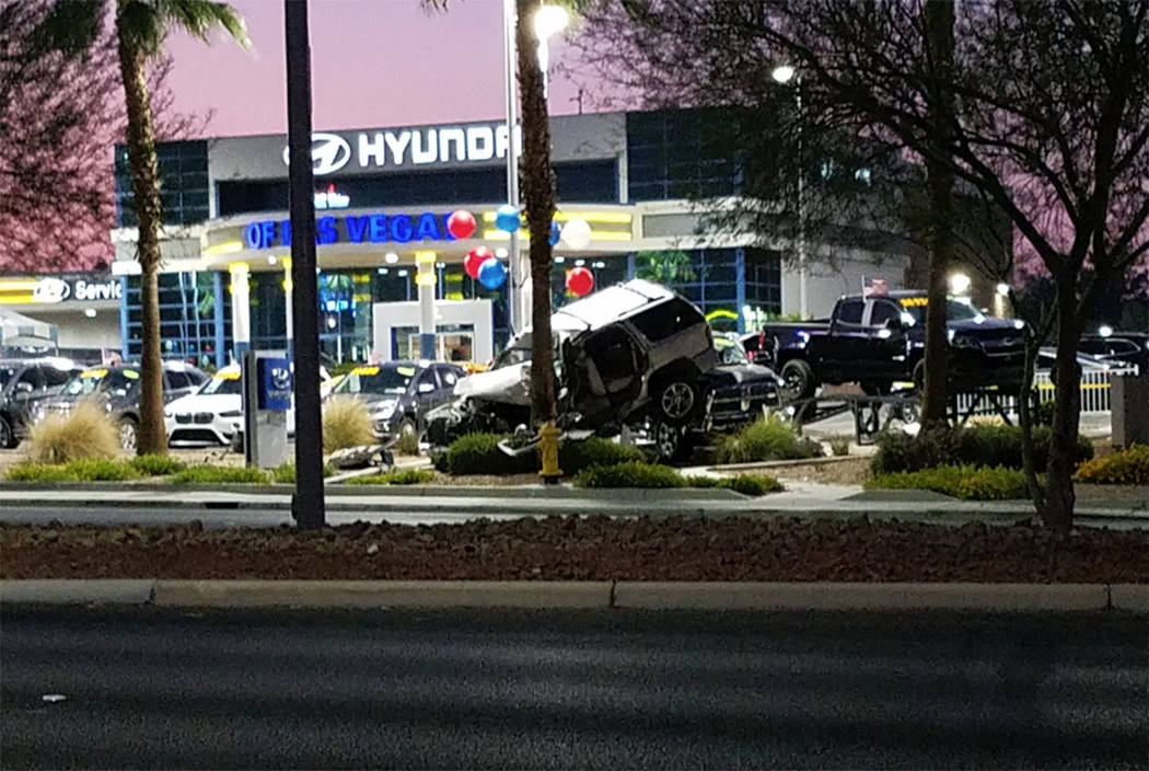 One person died after a fatal crash involving a pedestrian in the west valley on August 4, 2018, Las Vegas police said. (Mike Shoro/Las Vegas Review-Journal)