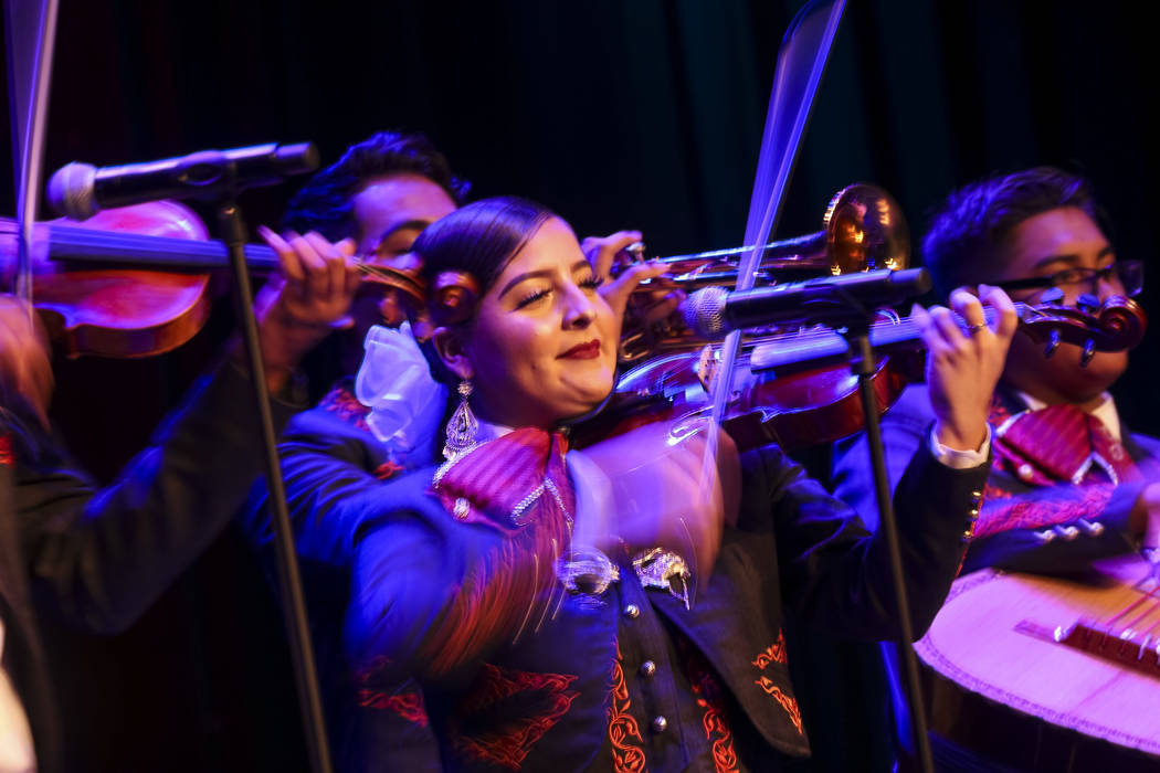 Members of the Desert Pines High School mariachi band perform during the Miss El Tiempo pageant at Sam's Town in Las Vegas on Saturday, Aug. 4, 2018. Richard Brian Las Vegas Review-Journal @vegasp ...