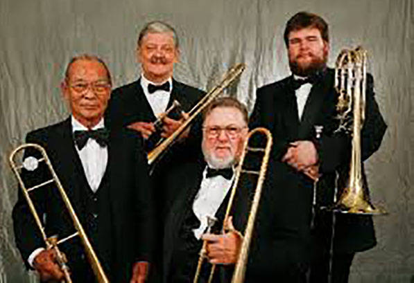 Dan Uhrich, upper right, is shown with the Dynamic Trombone Quartet. (WaltBoenig.com)