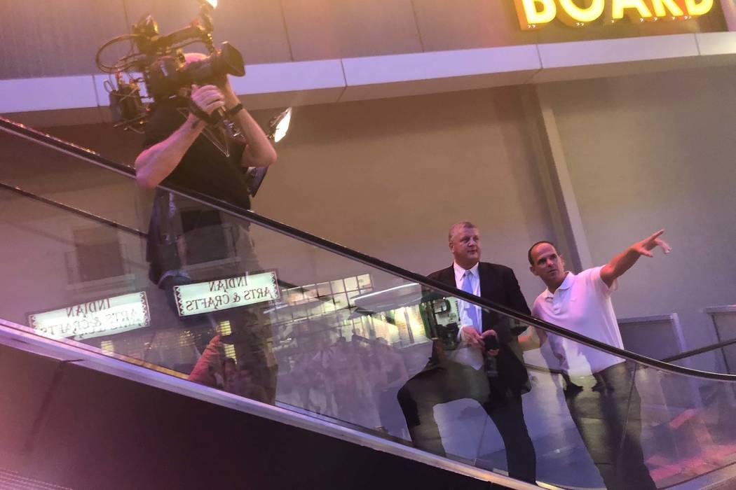 "Derek Stevens and Marcus Lemonis, star of the CNBC series ""The Profit,"" are shown at the D Las Vegas on Fremont Street on Thursday, Aug. 2, 2018 (John Katsilometes/Las Vegas Review-Journal) @Johnn ..."