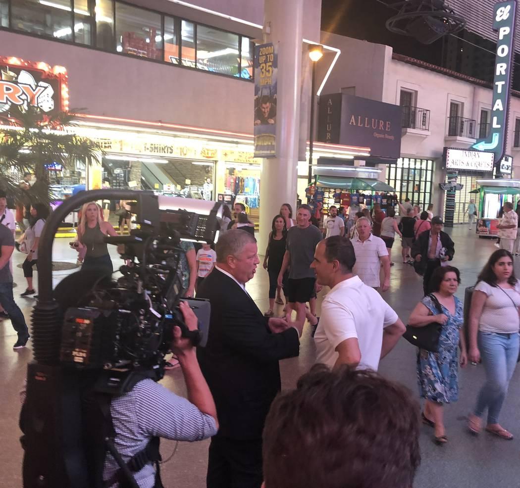 "Derek Stevens and Marcus Lemonis, star of the CNBC series ""The Profit,"" are shown outside the D Las Vegas on Fremont Street on Thursday, Aug. 2, 2018 (John Katsilometes/Las Vegas Review-Journal) @ ..."