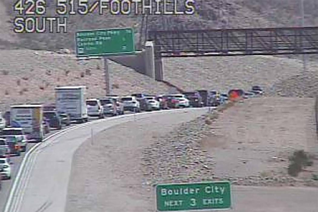 A crash has closed the southbound lanes of U.S. Highway 95/Interstate 11 near Railroad Pass, Sunday afternoon, Aug. 5, 2018. (RTC Fast Cameras)