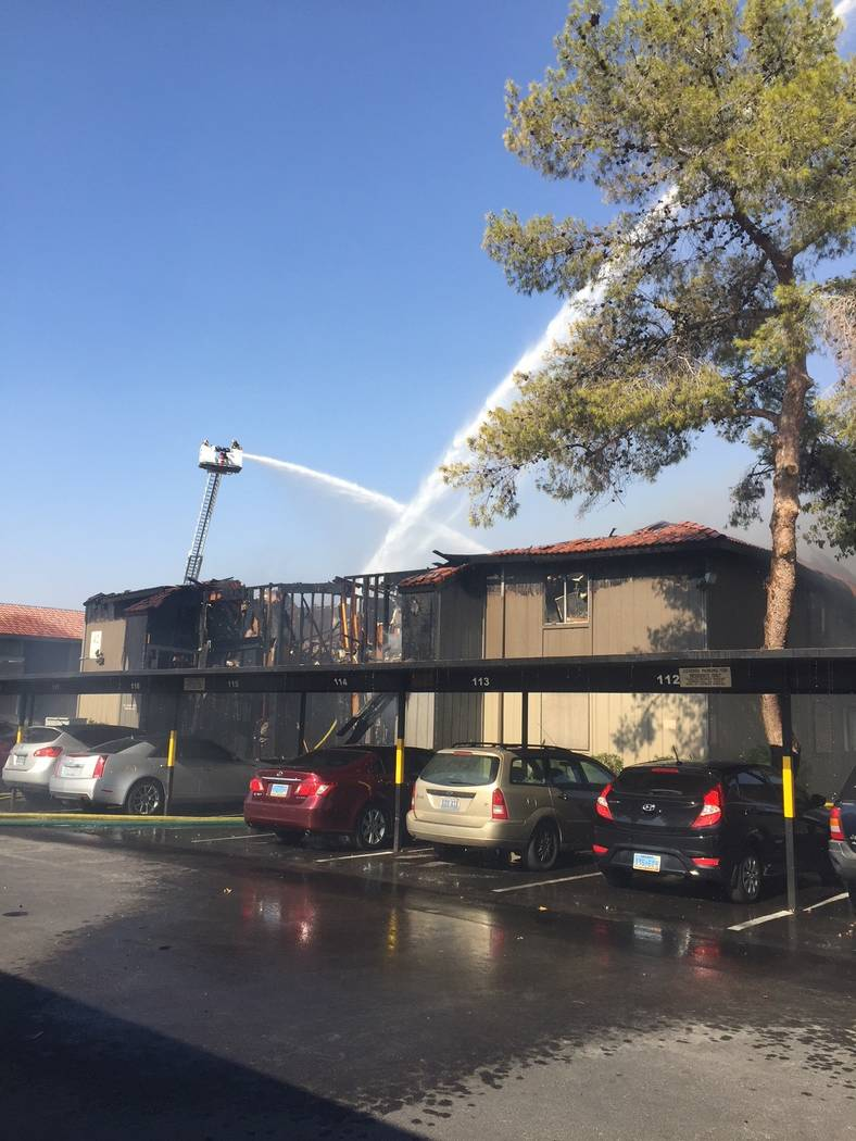 Fire crews battle a blaze at Solaire Apartments, 1750 Karen Ave., in Las Vegas on Aug. 5, 2018. (Clark County Fire Department)
