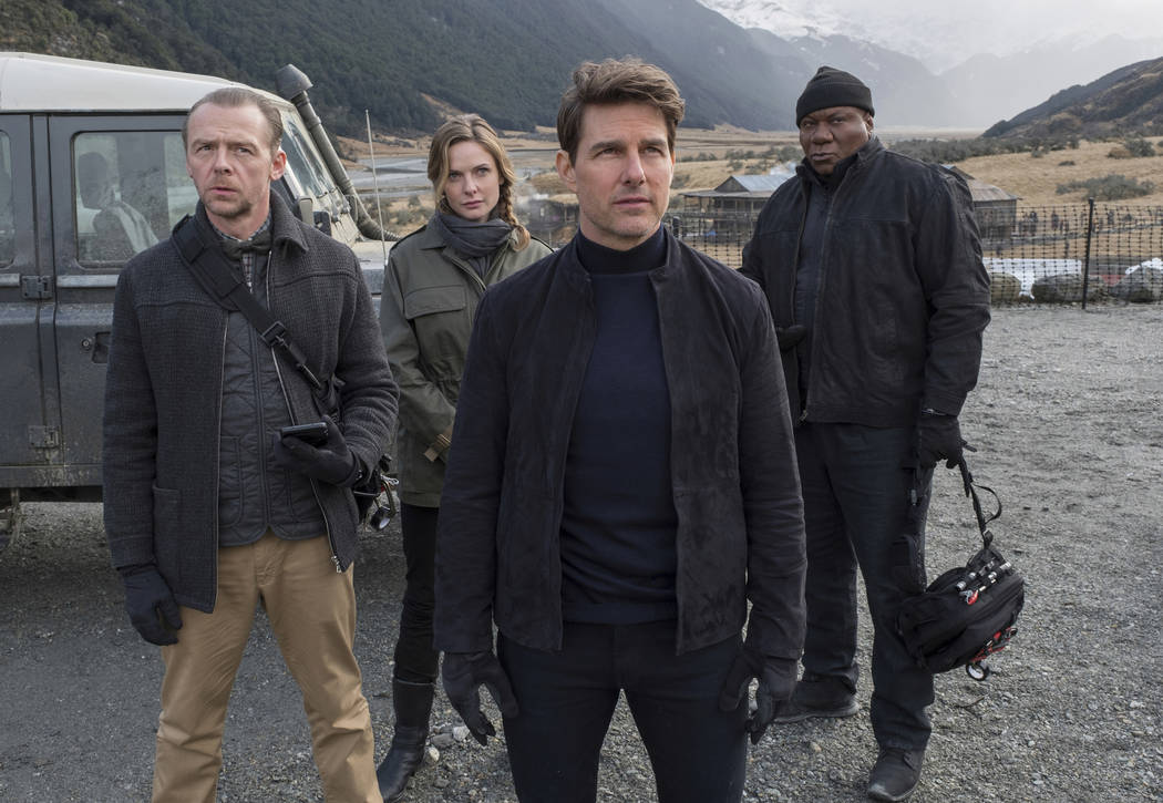 "This image released by Paramount Pictures shows, from left, Simon Pegg, Rebecca Ferguson, Tom Cruise and Ving Rhames in a scene from ""Mission: Impossible - Fallout."" (David James/Paramou ..."