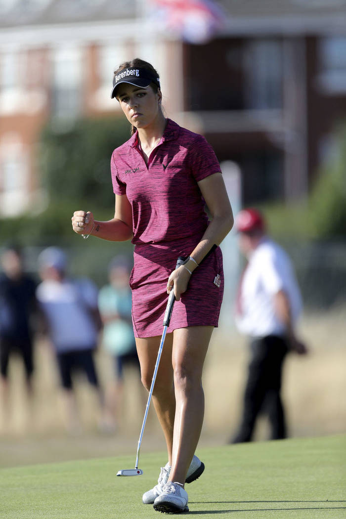 England's Georgia Hall celebrates a birdie the 16th during day four of the Women's British Open at Royal Lytham & St Annes Golf Club, in Lytham, England, Sunday Aug. 5, 2018. (Richard Sellers/ ...
