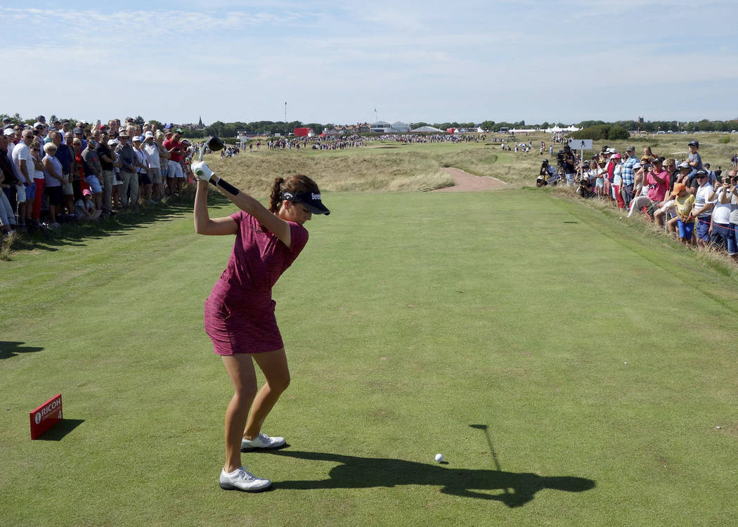 England's Georgia Hall plays the 4th hole during day four of the Women's British Open at Royal Lytham & St Annes Golf Club, in Lytham, England, Sunday Aug. 5, 2018. (Richard Sellers/PA via AP)