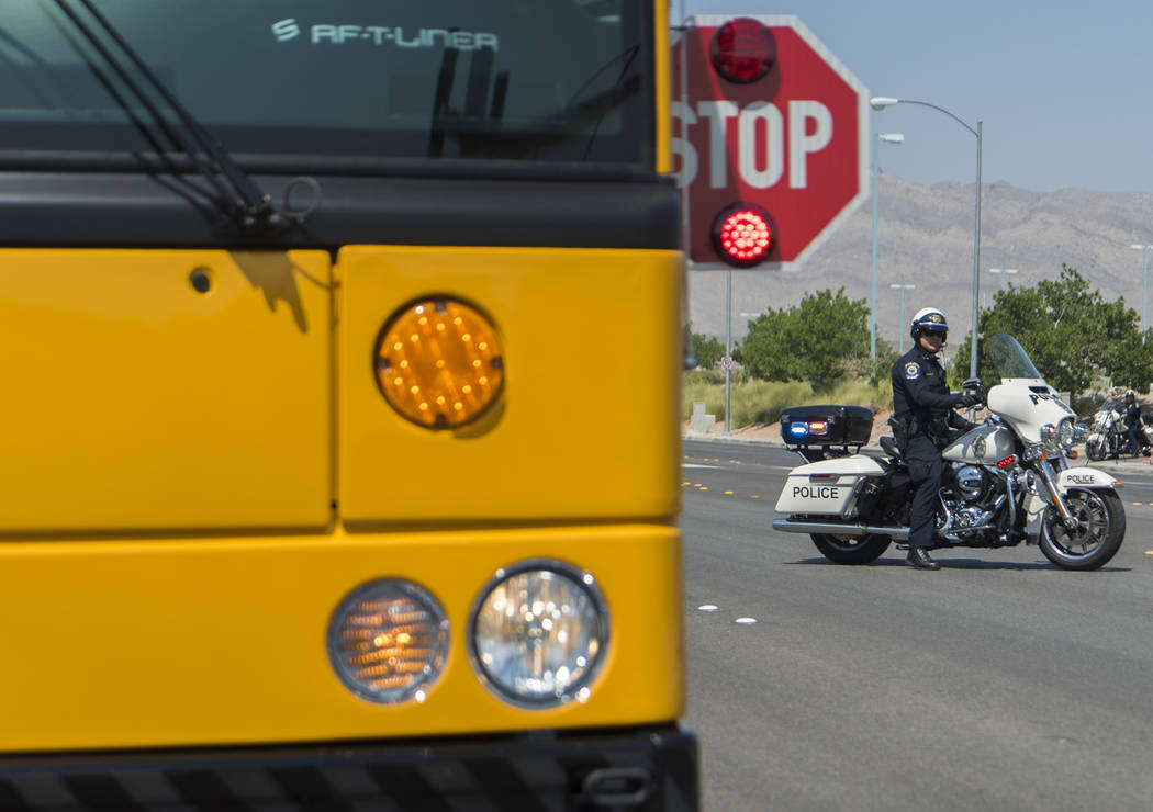 Clark County School District Police Department hold a mock traffic stop at Centennial High School in Las Vegas, Monday, Aug. 6, 2018. (Marcus Villagran/Las Vegas Review-Journal) @brokejournalist