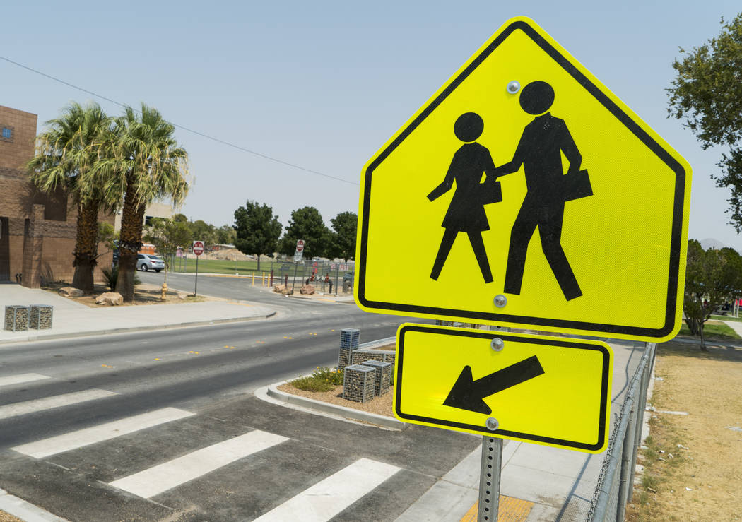 New crosswalk designed to improve pedestrian safety photographed in front of CP Squires Elementary School in North Las Vegas, Saturday, Aug. 11, 2018. (Marcus Villagran/Las Vegas Review-Journal) @ ...