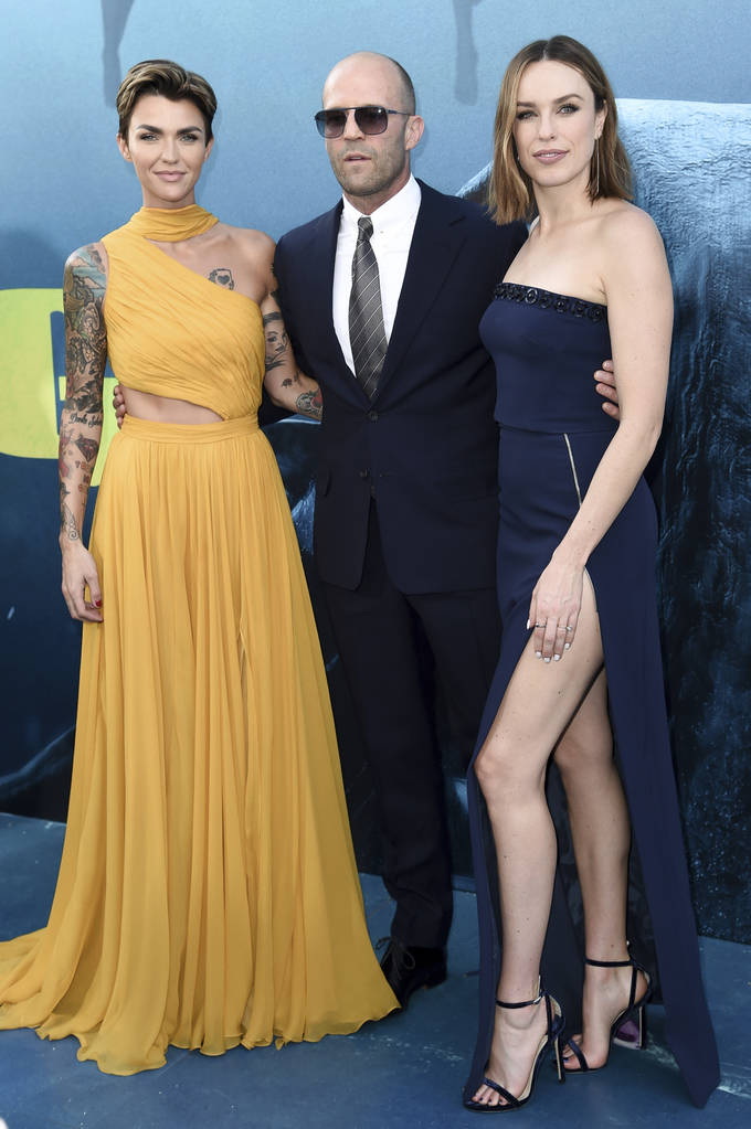 "Ruby Rose, from left, Jason Statham and Jessica McNamee attend the LA Premiere of ""The Meg"" at TCL Chinese Theatre on Monday, Aug. 6, 2018, in Los Angeles. (Photo by Richard Shotwell/Inv ..."