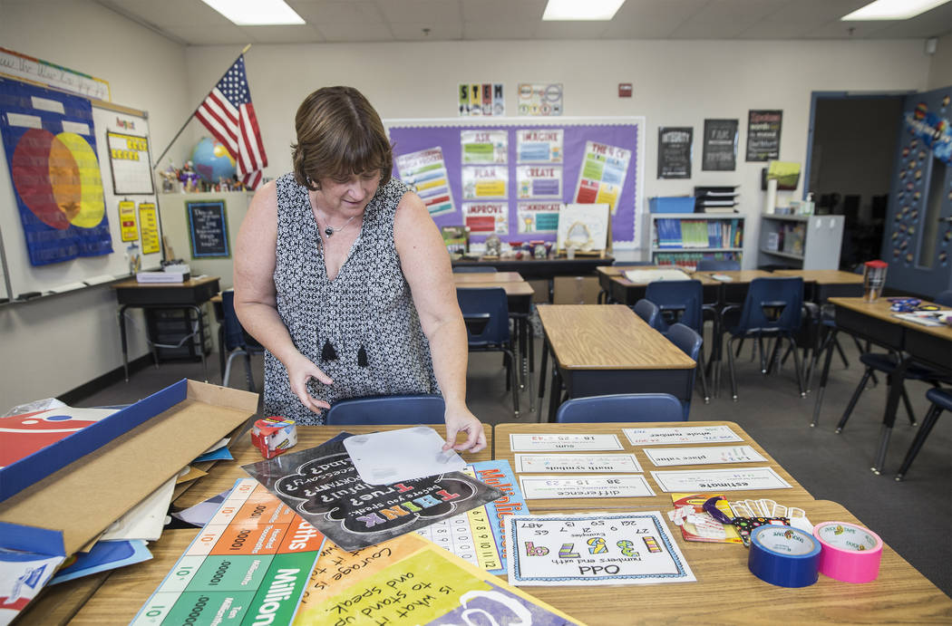 Third grade teacher Denise Lovern prepares her classroom at Steele Elementary School on Thursday, Aug., 9, 2018, in Las Vegas. Benjamin Hager Las Vegas Review-Journal @benjaminhphoto