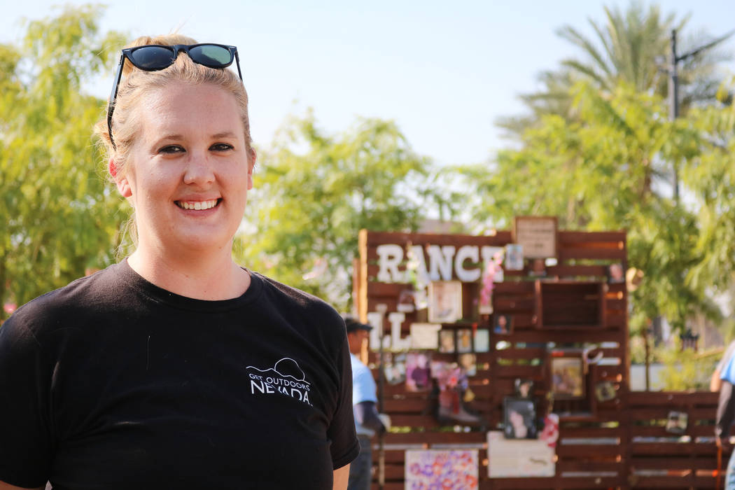 Jessica Anderson , Community Engagement Director for Get Outdoors Nevada stands in front of the Remembrance Wall at the Community Healing Garden in Las Vegas, Monday, Aug. 6, 2018. Crews moved the ...