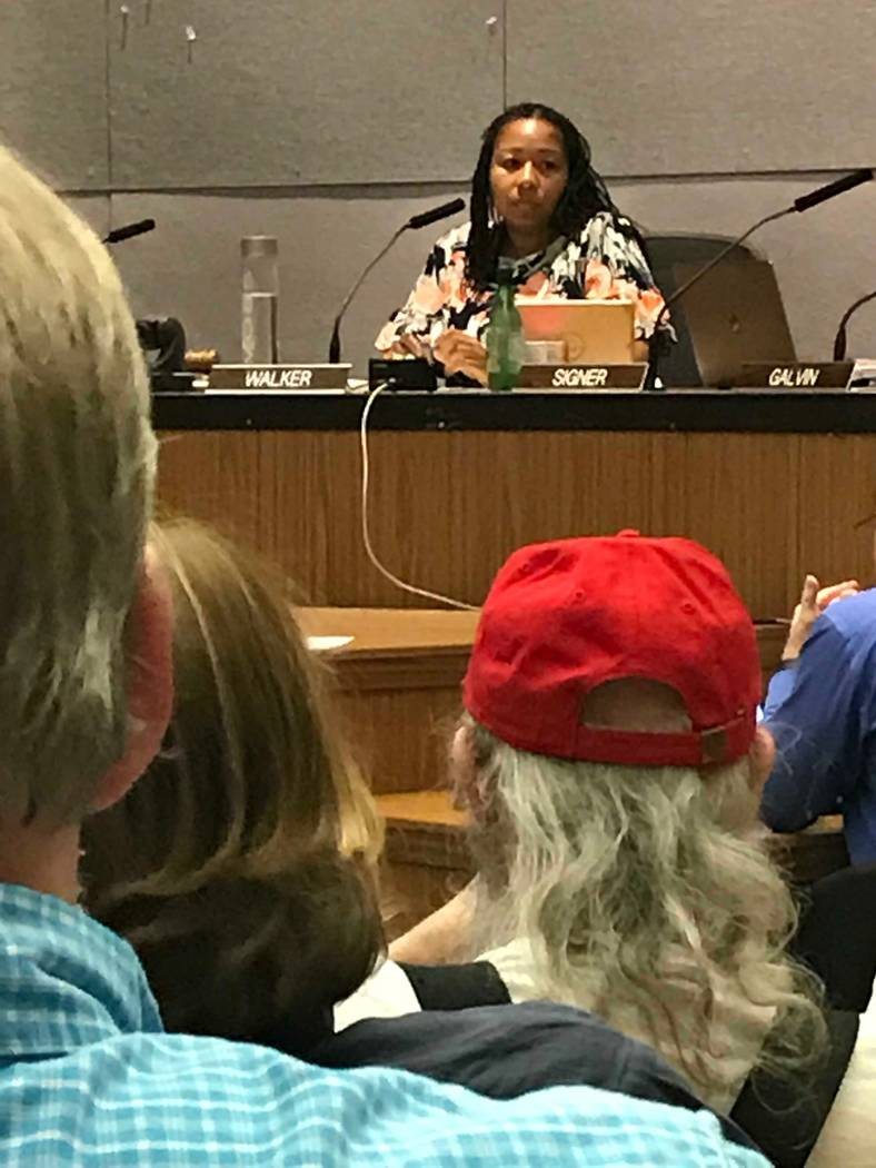 Charlottesville Mayor Nikuyah Walker listens to citizens during a city council meeting days before the anniversary of the white nationalists' rally that ended with the death of a counterprotester. ...