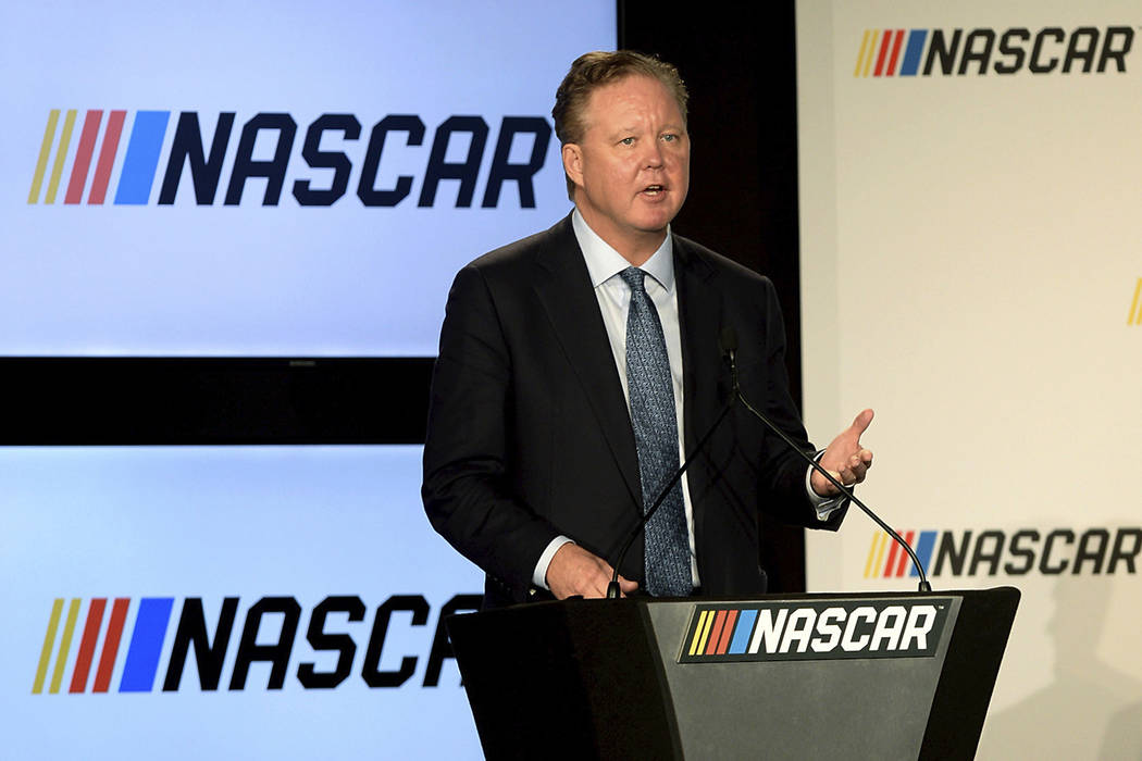 FILE - In this Jan. 23, 2017, file photo, Brian France, Chairman of NASCAR, gives opening remarks prior to an announcement of NASCAR's approach to modernizing its series with a new format, in Char ...