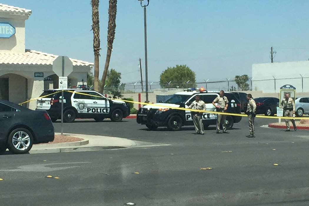Las Vegas police are at the scene of an officer-involved shooting at Kensington Suites in the 2200 block of West Bonanza Road, Monday, Aug. 6, 2018. It's the third officer-involved shooting involv ...