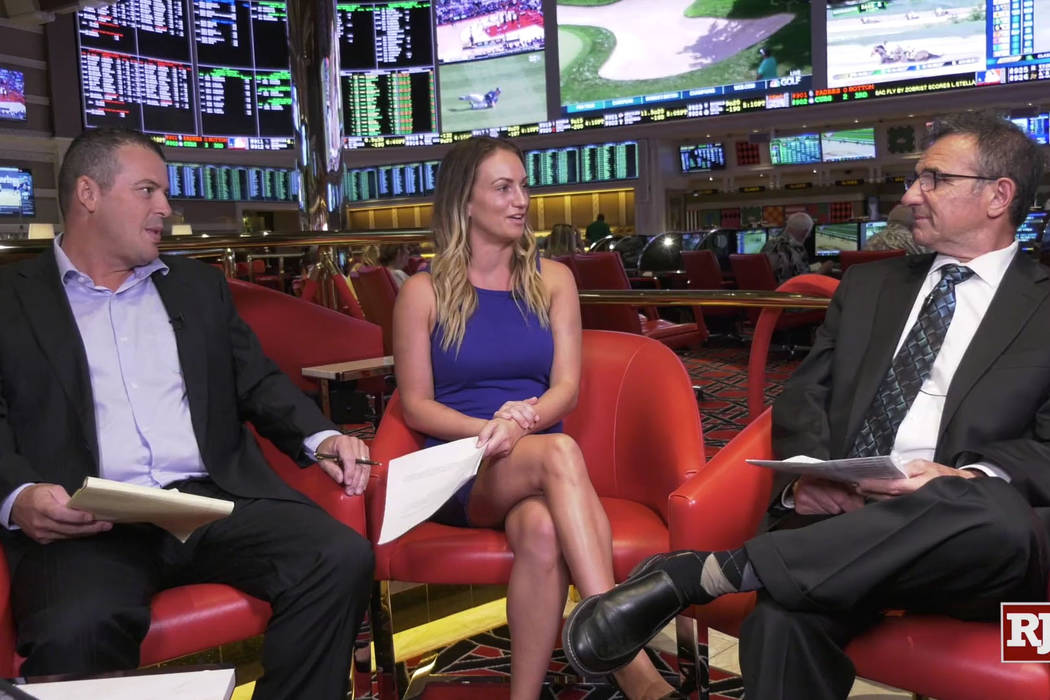 Las Vegas Review-Journal betting columnist Todd Dewey, handicapper Kelly Stewart and Wynn Las Vegas sports book director Johnny Avello on set at the Wynn Las Vegas sports book during a Sports Bett ...
