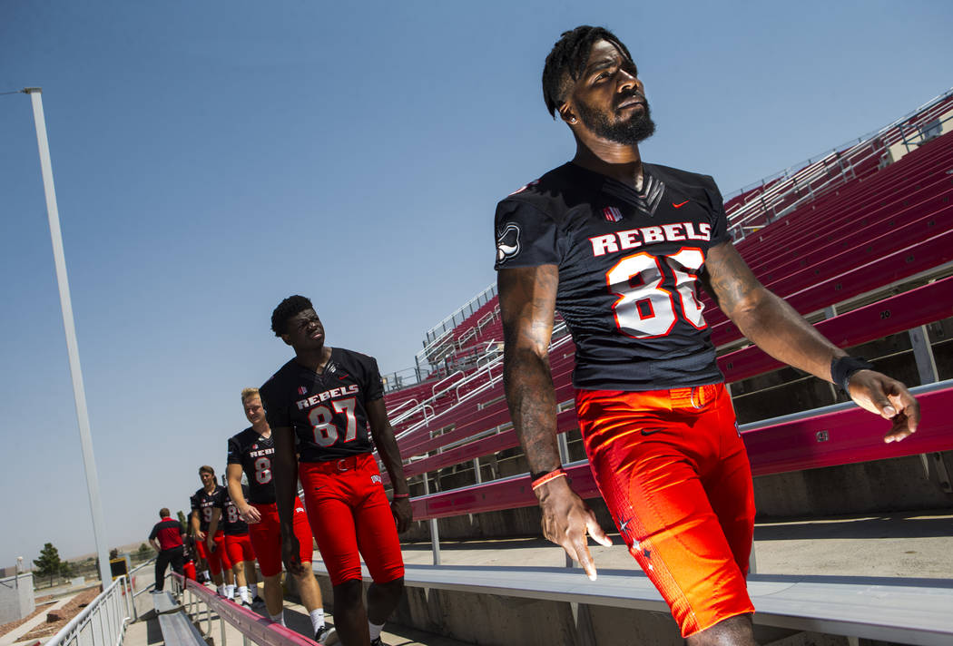 UNLV Rebels defensive back Darren Palmer (86) lines up during UNLV football's photo day at Sam Boyd Stadium in Las Vegas on Wednesday, Aug. 8, 2018. Chase Stevens Las Vegas Review-Journal @cssteve ...